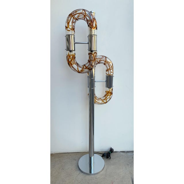 Floor Lamp Metal Chrome Murano Glass by Aldo Nason for Mazzega, Italy, 1970s For Sale - Image 13 of 13