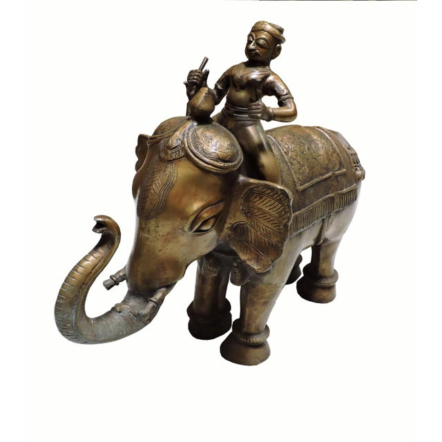 Metal Cast Bronze Indian Elephant With Rider For Sale - Image 7 of 7