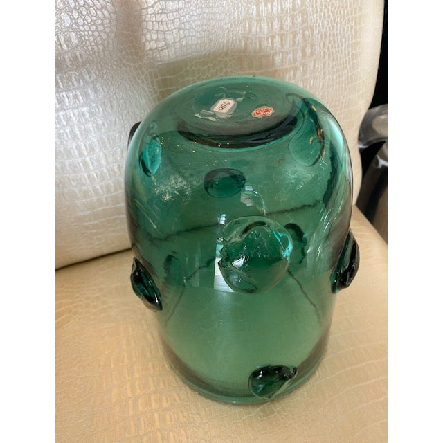 Mid-Century Murano Green Glass Vase For Sale - Image 12 of 13