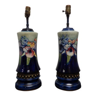 Early 20th Century Vintage Moorcroft Orchid Lamps - A Pair For Sale