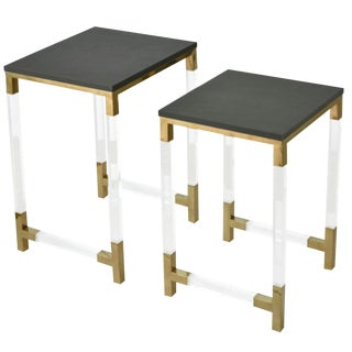Contemporary Acrylic and Brass Nesting Tables/Side Tables Set of Two For Sale
