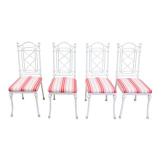 Chinese Chippendale White & Pink Linen Upholstered Chairs - Set of 4 For Sale