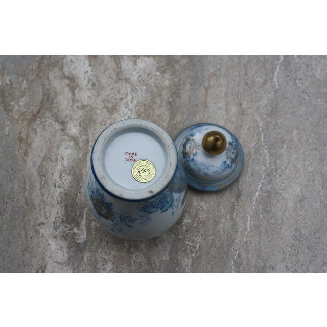 Vintage Blue, White & Gold Kutani Porcelain Temple Jar / Vintage Gold Imari Blue Peacock Ginger Jar With Lid For Sale - Image 5 of 6