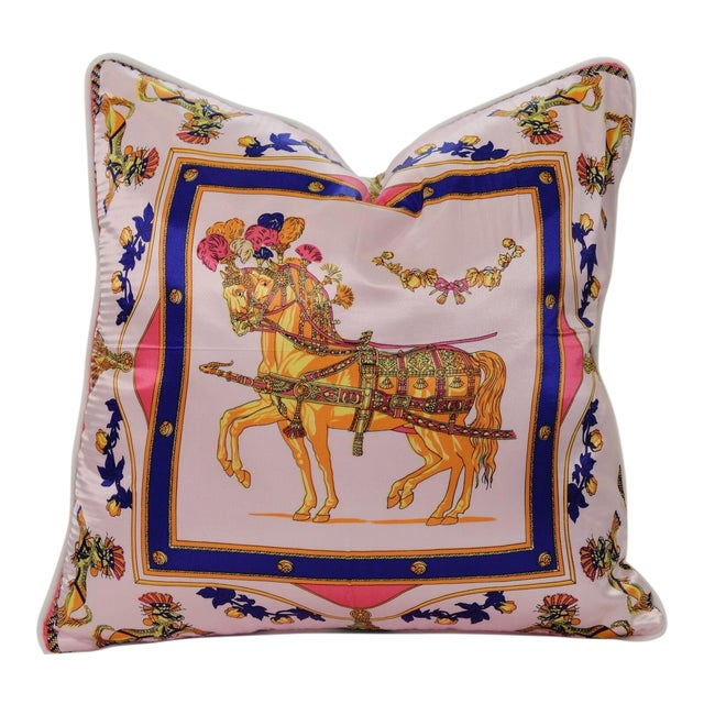 Pink Horse Silk Pillow For Sale