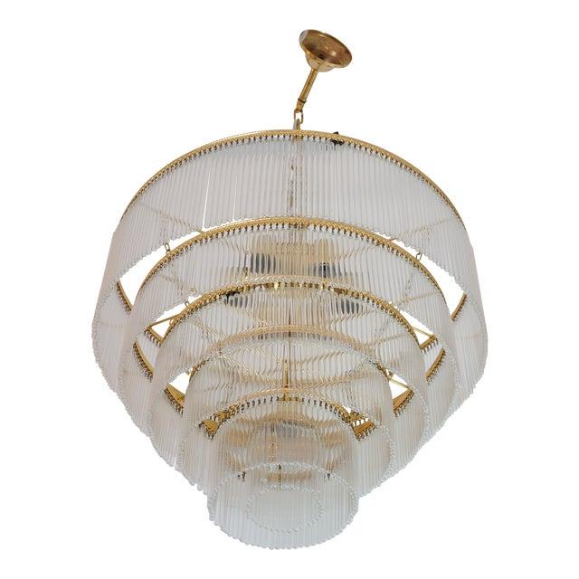 Mid-Century Scolari Murano 7-Light Tiered Glass Tubes Chandelier For Sale