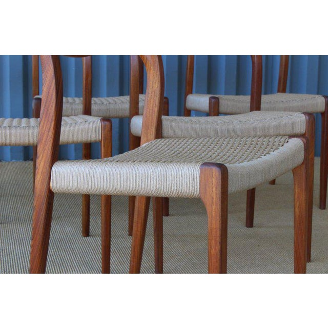 Mid-Century Modern Set of Six Dining Chairs by Niels Moller, Denmark, 1960s For Sale - Image 3 of 13