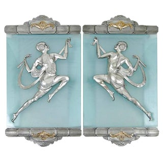 Art Deco Flapper Bronze Sconce Pair in the Style of Affortunato Gory For Sale