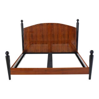 Vintage Mid Century King-Size Headboard Footboard Bedframe For Sale