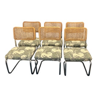 Mid Century Modern Marcel Breuer Cesca Cane and Chrome Style Dining Chairs Newly Reupholstered in Blue Green and Cream Dragon Fabric- Set of 6 For Sale