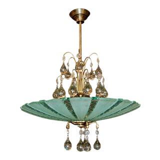 Vintage Orrefors Art Glass Chandelier and Etched Glass Pendant Chandelier For Sale