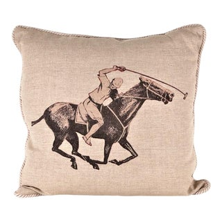 Polo Player Linen Equestrian Pillow For Sale