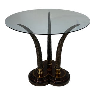 Faux Antler and Tooled Leather Center Table For Sale