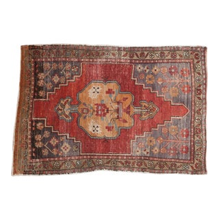 "Vintage Distressed Oushak Rug - 3'3"" x 4'8"" For Sale"