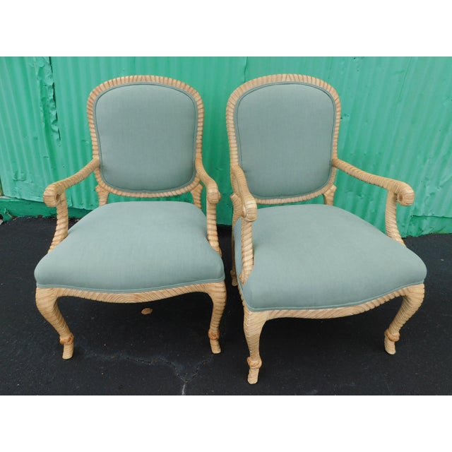 Stunning pair of knotted and twisted rope chairs in a light teal upholstery. Fabric is great shape with very few minor...