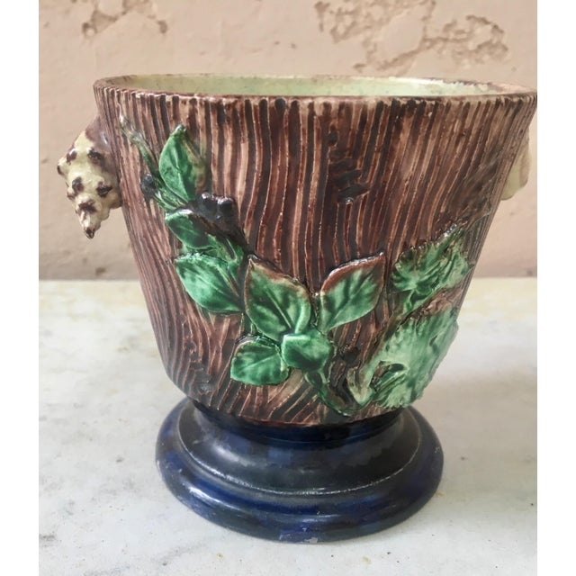 Rustic Majolica Palissy Cachepot For Sale - Image 3 of 6