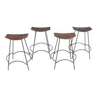 Set of 4 Arthur Umanoff Wicker and Iron Counter Stools