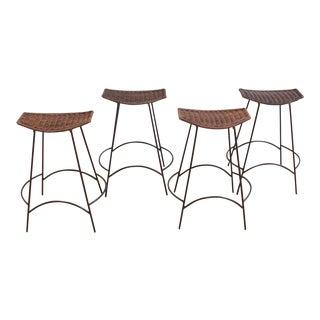 Set of 4 Raymor Arthur Umanoff Wicker and Iron Counter Stools