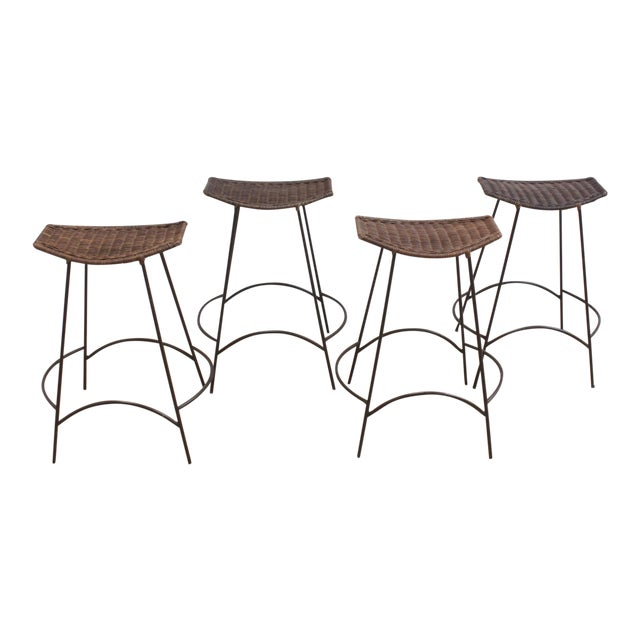 Set of 4 Raymor Arthur Umanoff Wicker and Iron Counter Stools For Sale