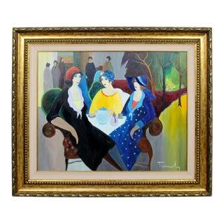 1970s Mid Century Modern Itzchak Tarkay Framed Original Acrylic on Canvas Painting 70s For Sale