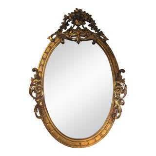 Antique 19c Baroque Gilt Wood Oval Mirror For Sale