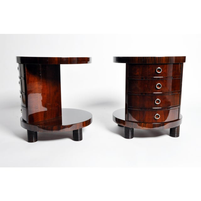 Art Deco Round Side Table with Shelf- A Pair For Sale - Image 3 of 11