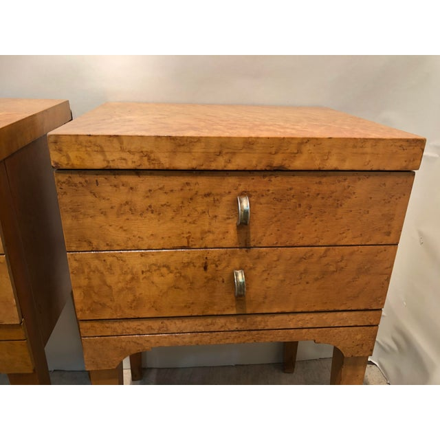 Mid-Century Modern Mid Century Tiger Maple Night Stands - a Pair For Sale - Image 3 of 10