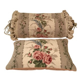 Floral Needlepoint Neck Roll Pillow & Throw Pillow - A Pair For Sale