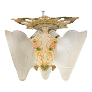 1930s Art Deco 3-Light Flush Mount For Sale