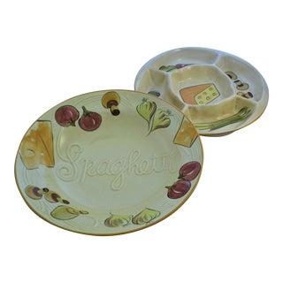 Vintage Bowls. 60s L. A. Potteries Hand-Painted Bowl & Appetizer Dish