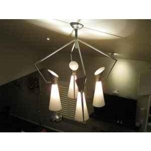 1950s Mid Century Extreme Modernism Victor Gruen for John Lautner Chandelier Hanging Lamp For Sale - Image 5 of 11