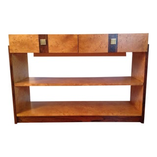 Fabulous Rare Founders Credenza Mid Century Modern Burl Maple Brazilian Rosewood 70s For Sale