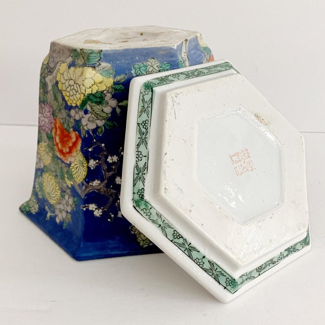 Blue Chinoiserie Blue Cherry Blossom and Birds Planter With Saucer For Sale - Image 8 of 10