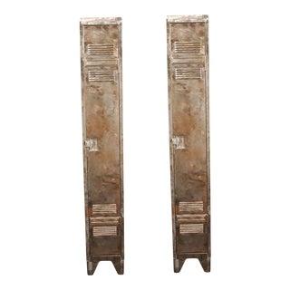 German Industrial Metal Lockers, circa 1940 - A Pair For Sale