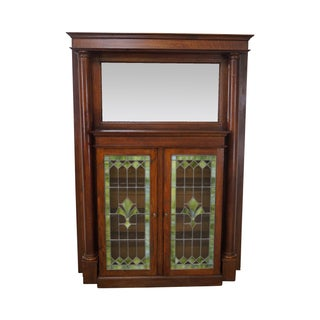 Antique Arts & Crafts Oak Leaded Glass Bookcase