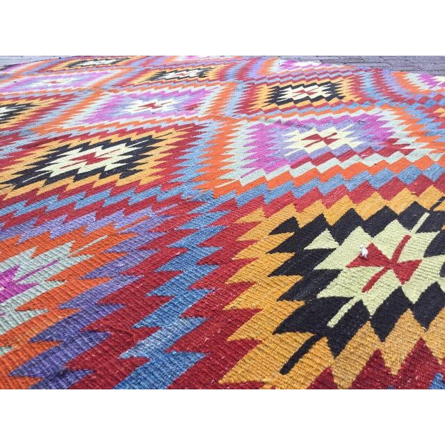 Colorful Turkish Kilim Rug For Sale - Image 5 of 8