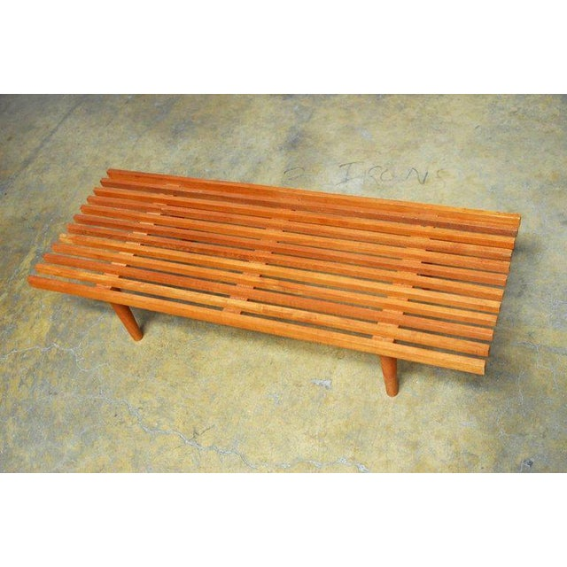 Mid-Century Modern Mid-Century Modern Low Slat Wood Bench Coffee Table For Sale - Image 3 of 9