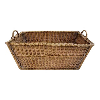 Large French Woven Willow Wicker Basket W/ Handles For Sale