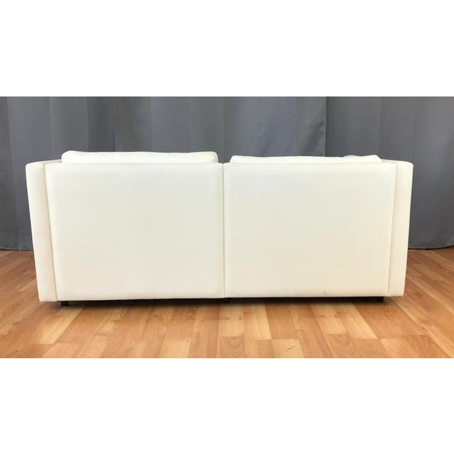 Knoll Charles Pfister for Knoll Settee in Off-White Canvas For Sale - Image 4 of 13