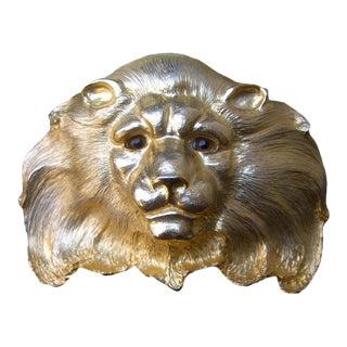 Christopher Ross Incredible Massive 24k Gold Plated Lion Buckle Snakeskin Belt C 1980s For Sale