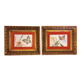 1970s Butterfly Orange Velvet Matted Oil Paintings - a Pair For Sale