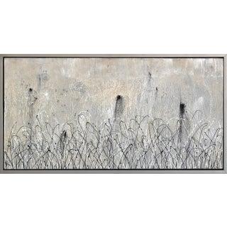 "Monochrome Black and White Artwork on Canvas ""Cream Harvest"" Framed Original Painting by Bruce Rubenstein For Sale"