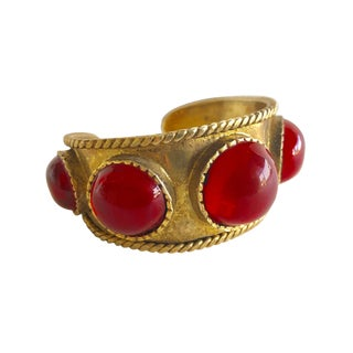 French Red Byzantine Gilt Statement Cuff Bracelet For Sale