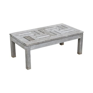 Country Casual Solid Teak Outdoor Patio Coffee Table For Sale
