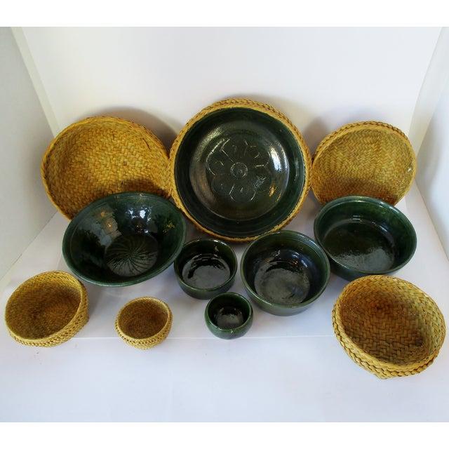 Ceramic Ceramic & Wicker Nesting Bowls, Set of 6 For Sale - Image 7 of 9