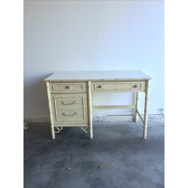 Vintage Thomasville Allegro desk with faux bamboo fretwork. A perfect nod to Hollywood Regency style. The desk has been...