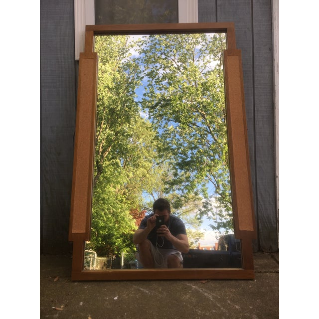 Mid-Century Walnut & Cork Hanging Wall Mirror - Image 5 of 6
