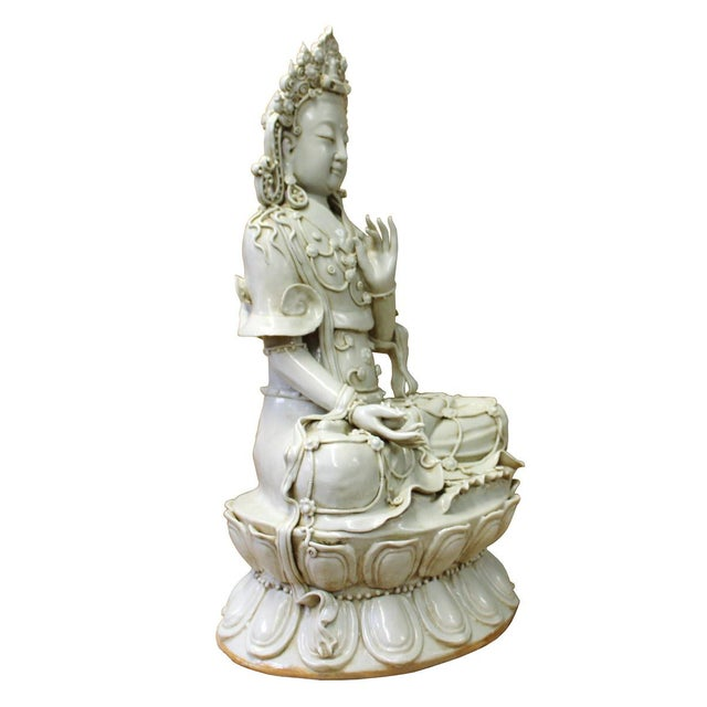 Tong Style Porcelain Kwan Yin Tara Bodhisattva Statue For Sale - Image 4 of 7