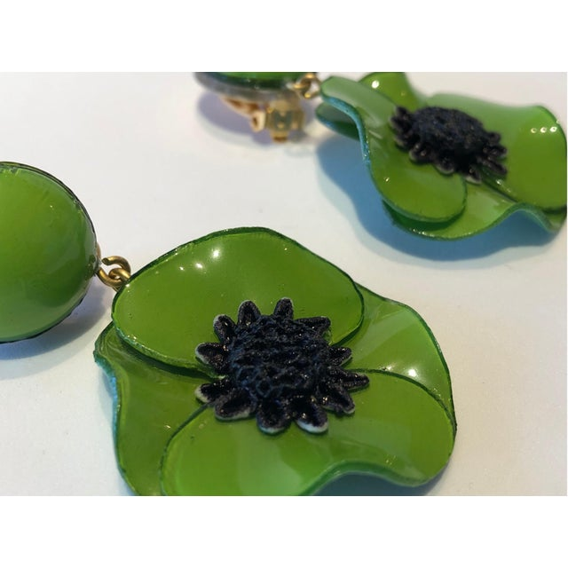 Cilea Green Poppy French Statement Earrings For Sale - Image 10 of 11