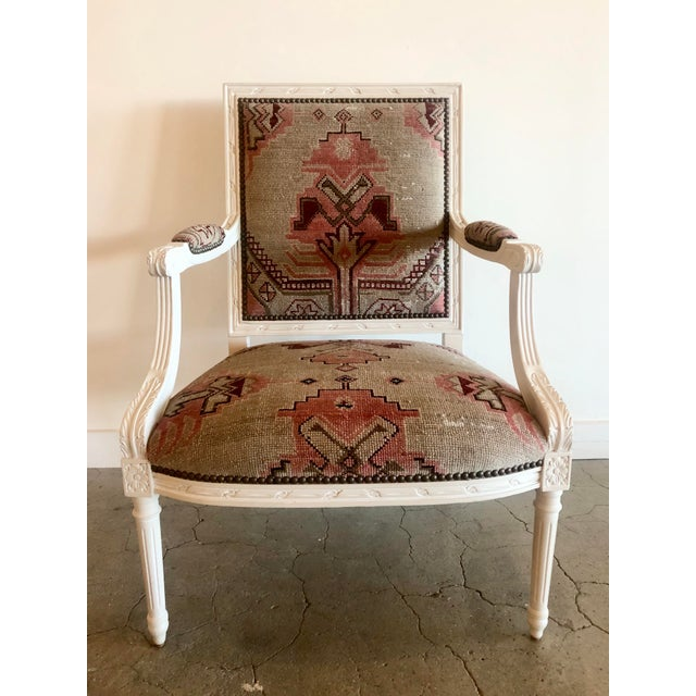White Vintage Carved Italian Chair Upholstered in Antique Rug For Sale - Image 8 of 8