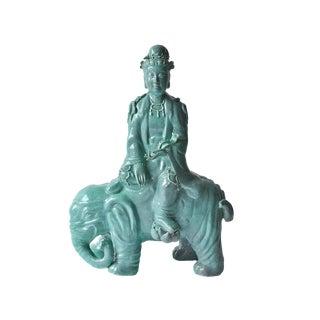 Pu Xian Kindness Buddha on Elephant Porcelain Figurine For Sale